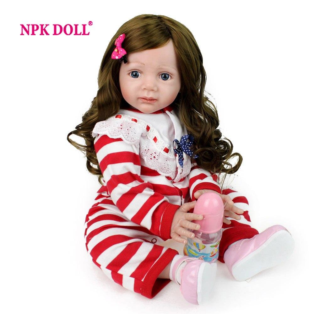 NPKDOLL 60 см 24  doll reborn Кукла куклы реборн Реалистичные Reborn Reborn Детские Для Девочек Кукла Тела Длинные Волосы Малышей Дети Toys RU Фондовой