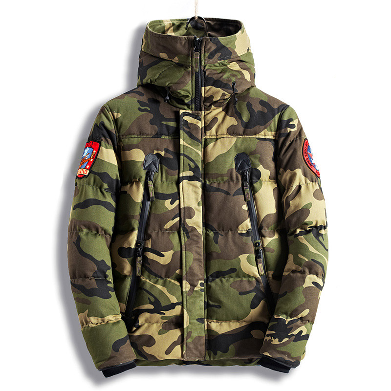 NEW 2018 Mens Casual Parkas Camouflage Thick Warm Winter Jacket Men Military Hooded Padded Overcoat Embroidery Jacket