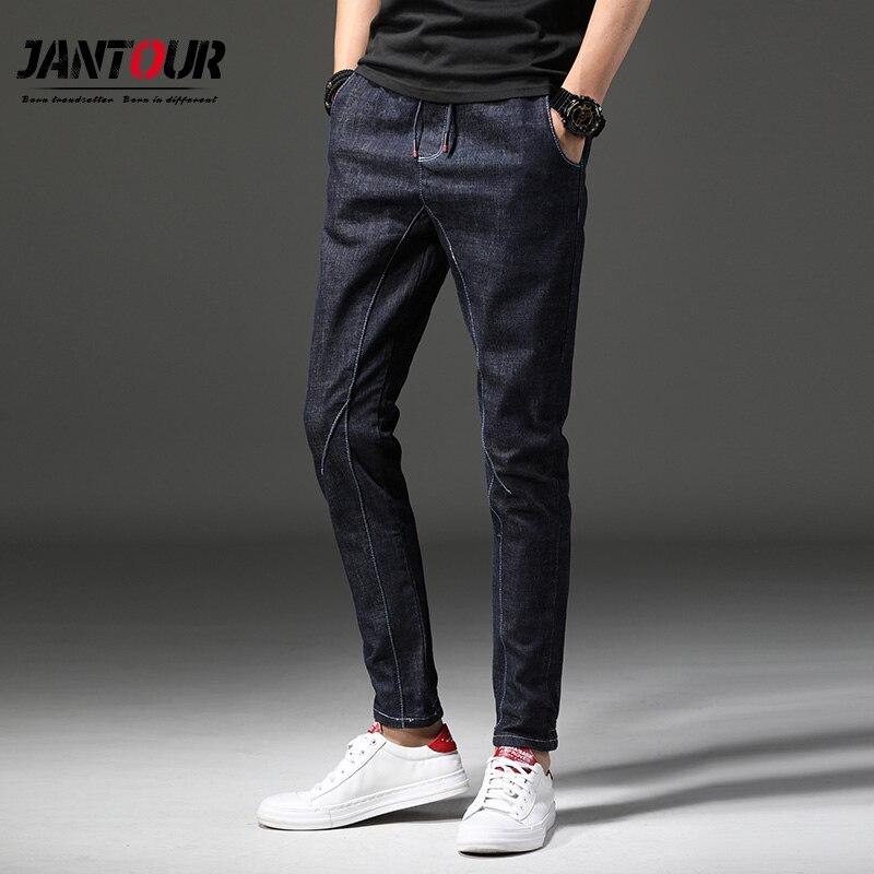 2018 Jantour Marke Mode Männer Jeans Gewaschen Füße Dünne Denim Hosen Hip Hop Sportswear Winter Elastische Taille Jogger Hosen Fabriken Und Minen