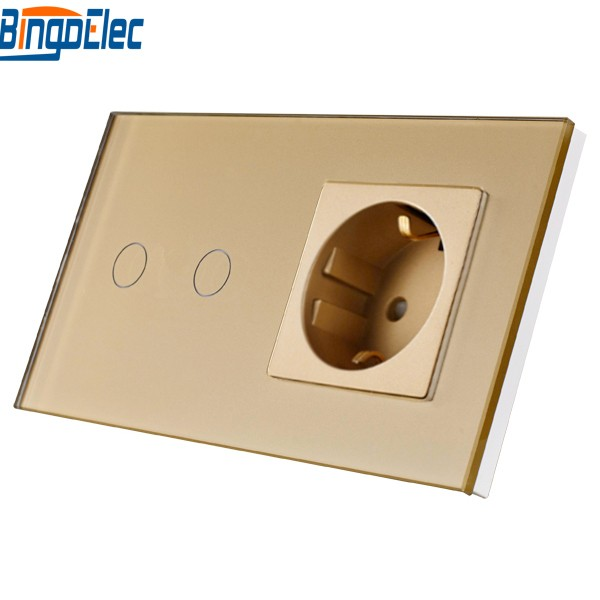 Home Improvement & Supplies EU Standard 2gang 1way/2way Remote/Dimmer/Touch Wall Switch and Germany Wall Socket Gold Glass smart home eu touch switch wireless remote control wall touch switch 3 gang 1 way white crystal glass panel waterproof power