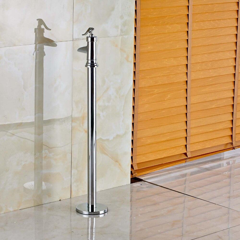 Chrome Bathroom Floor Mount Faucet One Handle Waterfall Bathtub Filler Mixer Tap