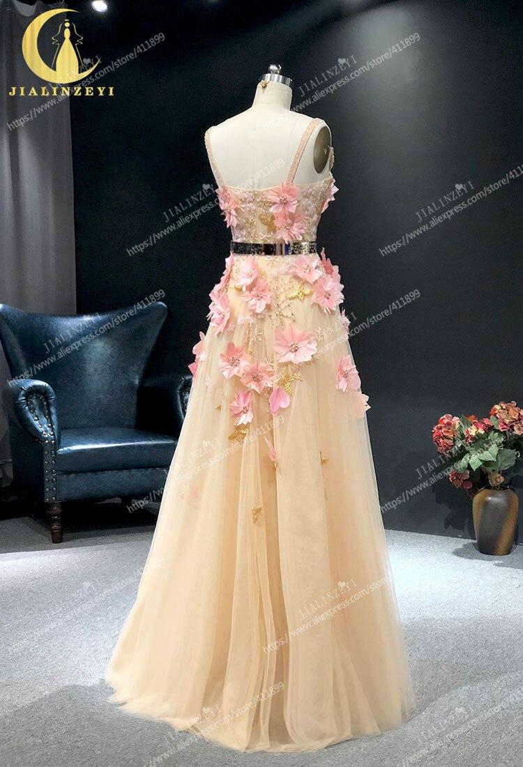 JIALINZEYI image réelle Champagne avec des fleurs de plumes roses longueur de plancher Elie saab robes formelles robes de soirée de fête - 5