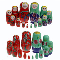 7pcs Set Russian Nesting Wooden Matryoshka Doll Set Hand Painted Toy Girl Doll Home Decor