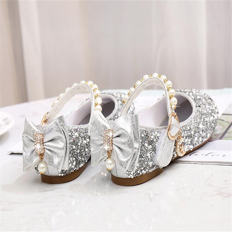e0427033754c Detail Feedback Questions about Kids Girls Rhinestone Bowknot Shoes  Princess PU Leather Shiny Party Dance Flats Flat Shoe Glod Silver Pink Shoe  For Girls on ...