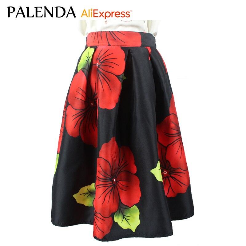 új, nyomtatott A sorozatú virágok vintage divatos térdhosszú - Női ruházat