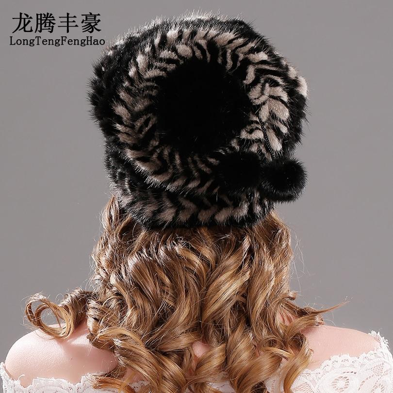 Sombreros de punto de piel de visón sombreros de Invierno para mujer gorra de piel Real Natural nueva marca de piel gorro de punto para mujer gorros de piel de visón genuino - 2