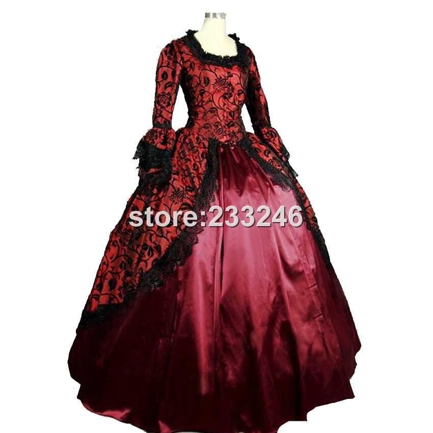 19 Century Period Renaissance Fair Georgian Antique Floral Dress Prom Gown Theater Reenactment Clothing - 2