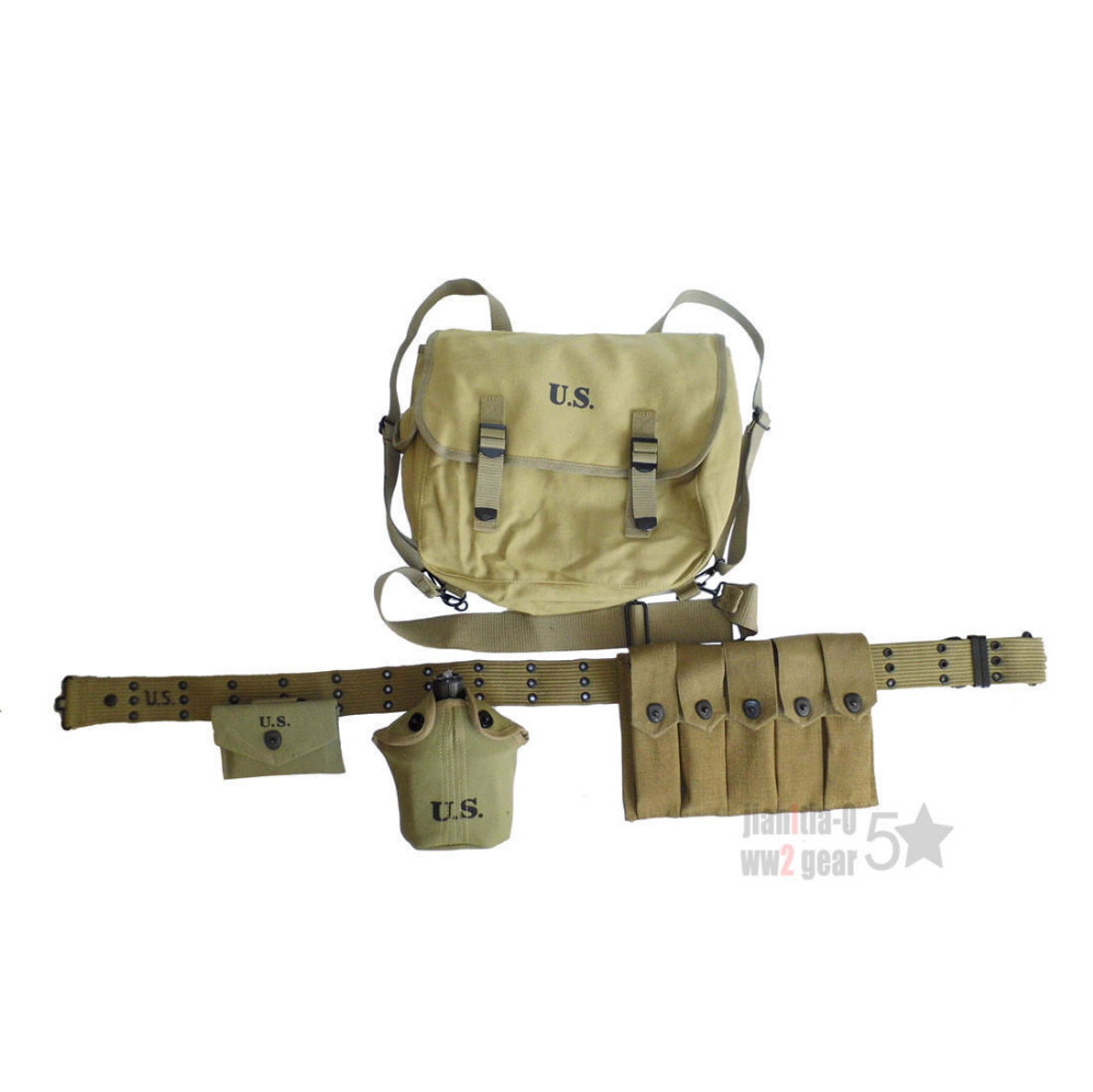 WWII 2 US ARMY SOLDIER CARBINE MAGAZINE POUCH M36 HAVERSACK FIRST AID EQUIPMENT