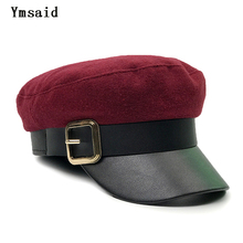 Ymsaid 2018 New Ladies Black Military Cap Fashion Flat Top Hat Woman Autumn Winter Warm Thickening PU Leather Bone Newsboy Cap
