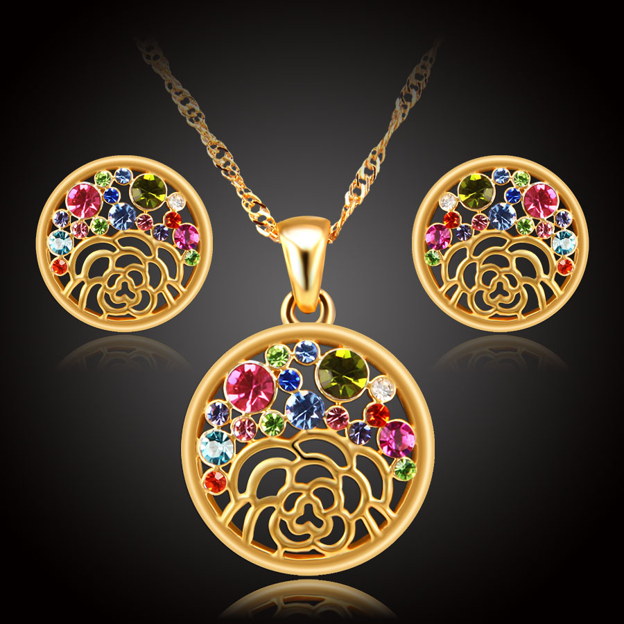 Erluer Austrian Crystal Jewelry Sets For Women Gold Color Fashion