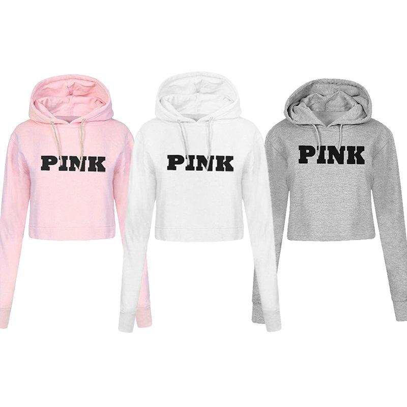 e9fe20a9f838 Fashion PINK Printing Hoodies Sweatshirts Jumper Crop Top Coat Crew Neck  Women Clothing Loose Short-in Hoodies   Sweatshirts from Women s Clothing  on ...