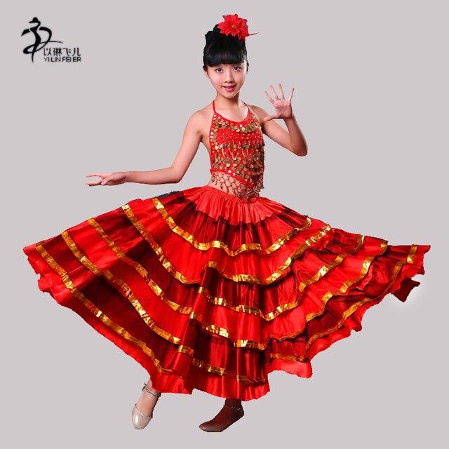 the best attitude 86d15 fec8e US $22.77 10% di SCONTO|Bambini spagnolo abiti da ballo flamenco costumi  gonne per le ragazze di Danza Del Ventre Gonna Grande Costume Spagnolo  Gonne ...
