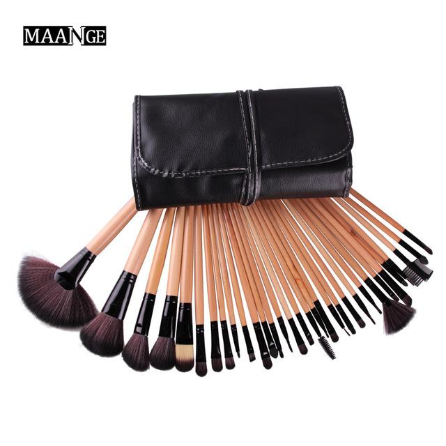 32 unid Fundación Pinceles de Maquillaje Set Pro Cepillo Cosmético lápiz de Cejas Delineador de Labios Sombras Kabuki Maquillaje Herramientas Kits y Bolsa bolsa