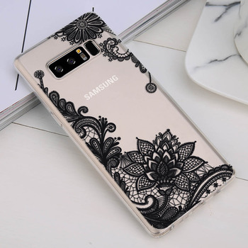 Galaxy Note 8 Case Floral Flower Pattern Printed Clear Design Transparent