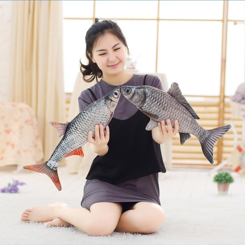 Cute Simulation Crucian Fish Plush font b Toy b font Stuffed Cartoon Animal Fish Pillow Little