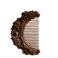 High Quality Upscale Boutique Hair Wooden Combs Natural Double Carved Sandalwood Exquisite Craft Pure Handmade