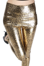 Woman Gold Snake Leather Leggings