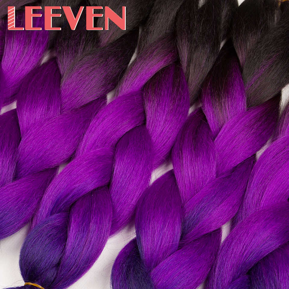 Leeven synthetic Black ombre braiding Hair Jumbo Braids Crochet Hair extention Blue Pink Purple Fiber 24'' 100g 1PCS