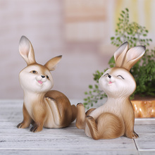 Cute rabbit Decorative crafts Cartoon Resin animal Figurine home decor fairy garden miniatures wedding decoration accessories