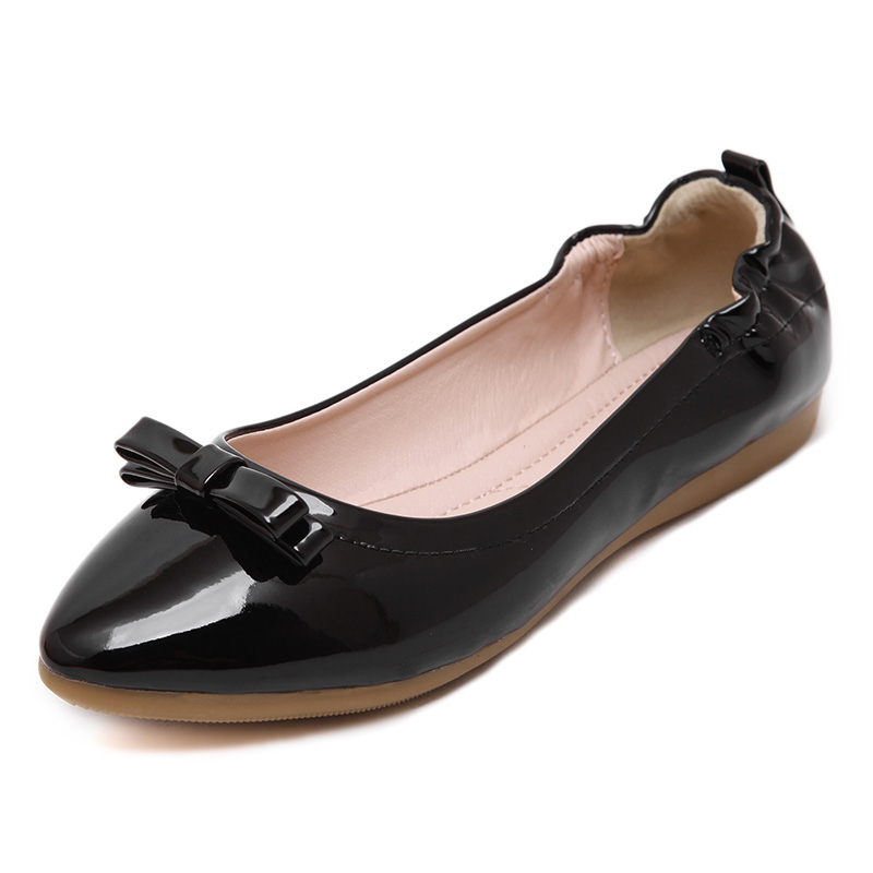 UMMEWALO Paten Leather Flat Shoes Women Casual Pointed Toe Soft Ballet Shoes Ladies Bow Designer Rubber Sole Casual Flats Shoes