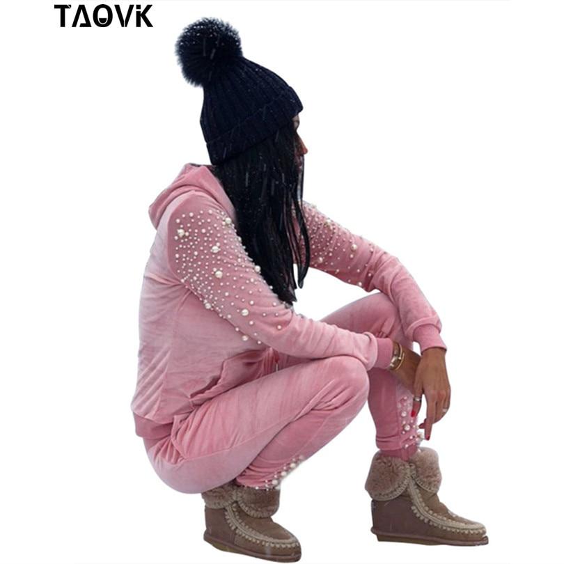 TAOVK Survêtement Perles À Manches Longues poche sweat à capuche et Pantalon Costumes Automne Velours Deux Pièces Ensembles Femmes
