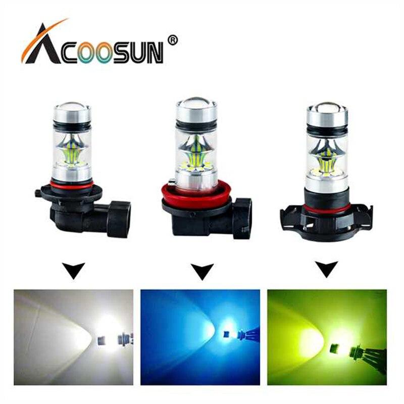 AcooSun H11 H7 светодиодный автомобилей туман лампа H1 H3 H10 9005 HB3 9006 HB4 PSX24W 12 В 24 В 1200Lm 4300 К 6000 К 8000 К Авто фонарь светодиодный <font><b>Voiture</b></font>