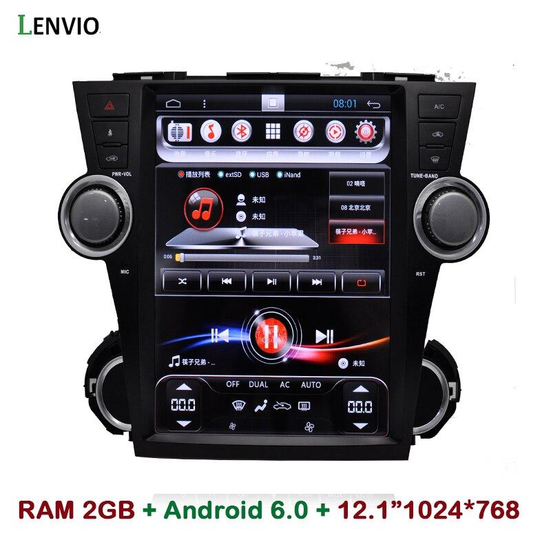 Lenvio 12,1 IPS 2 GB RAM Android 6,0 coche Radio DVD navegación GPS para Toyota Highlander 2009 de 2010 a 2011 2015, 2013, 2014 Quad Core