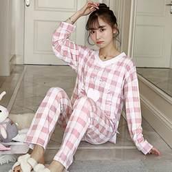 2019 весна хлопок пижамы для девочек для женщин с длинным рукавом Пижама повседневное Пижама клетчатая Домашняя одежда Pijama Mujer Loungewear