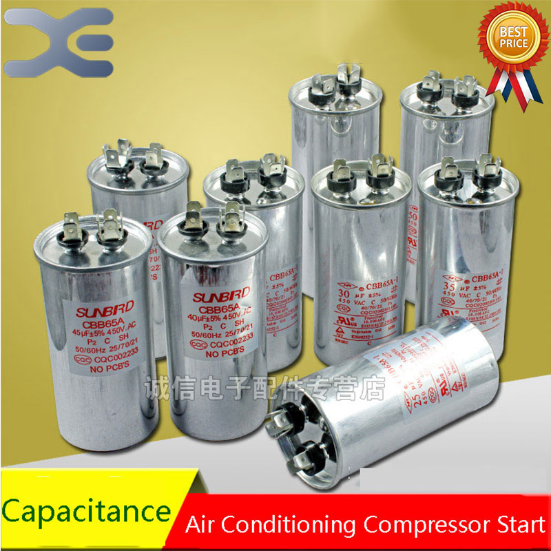 20/25/30/35/40/45/50/60/75UF Air Conditioning Start Capacitor 30UF Air Conditioning Capacitor Air Conditioning Parts cbb65a explosion proof air conditioning compressor start capacitor 25uf30uf35uf40uf50uf60uf70uf80 450v