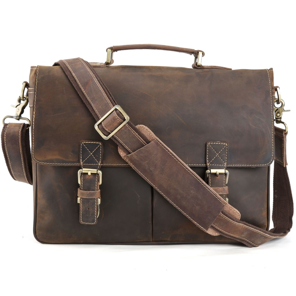 TIDING Vintage style grand sac de bureau hommes mallette en cuir véritable garçon sac à bandoulière livre 1116
