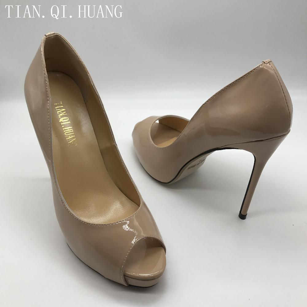 New Arrival Womens Pumps  Genuine leather Apricot High Heels Shoes Woman High Heels Wedding Size :35-42 Brand TIAN.QI.HUANG 1