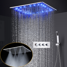 3 Color Changing LED Rain Shower Head 20 inch Square Ceiling Mount Misty Shower Faucet Set + Brass Hand Shower hydropower square led color changing shower head for bathroom