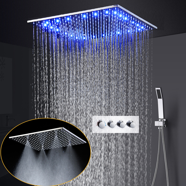 Luxury Bathroom Shower Set 20 inch Ceiling Rain Spa Mist Jet Shower System LED Temperature Shower Head 3 Way Hot And Cold Faucet