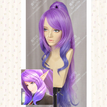 цена на LOL Janna Purple Pink Mix Culy Long Cosplay Wig With 100cm Chip Ponytail + Wig Cap