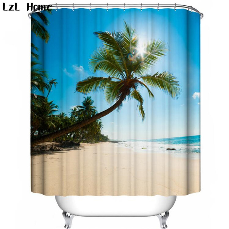 LzL Home Hot new 3D Waterproof Fabric Coconut tree Shower Curtain ...