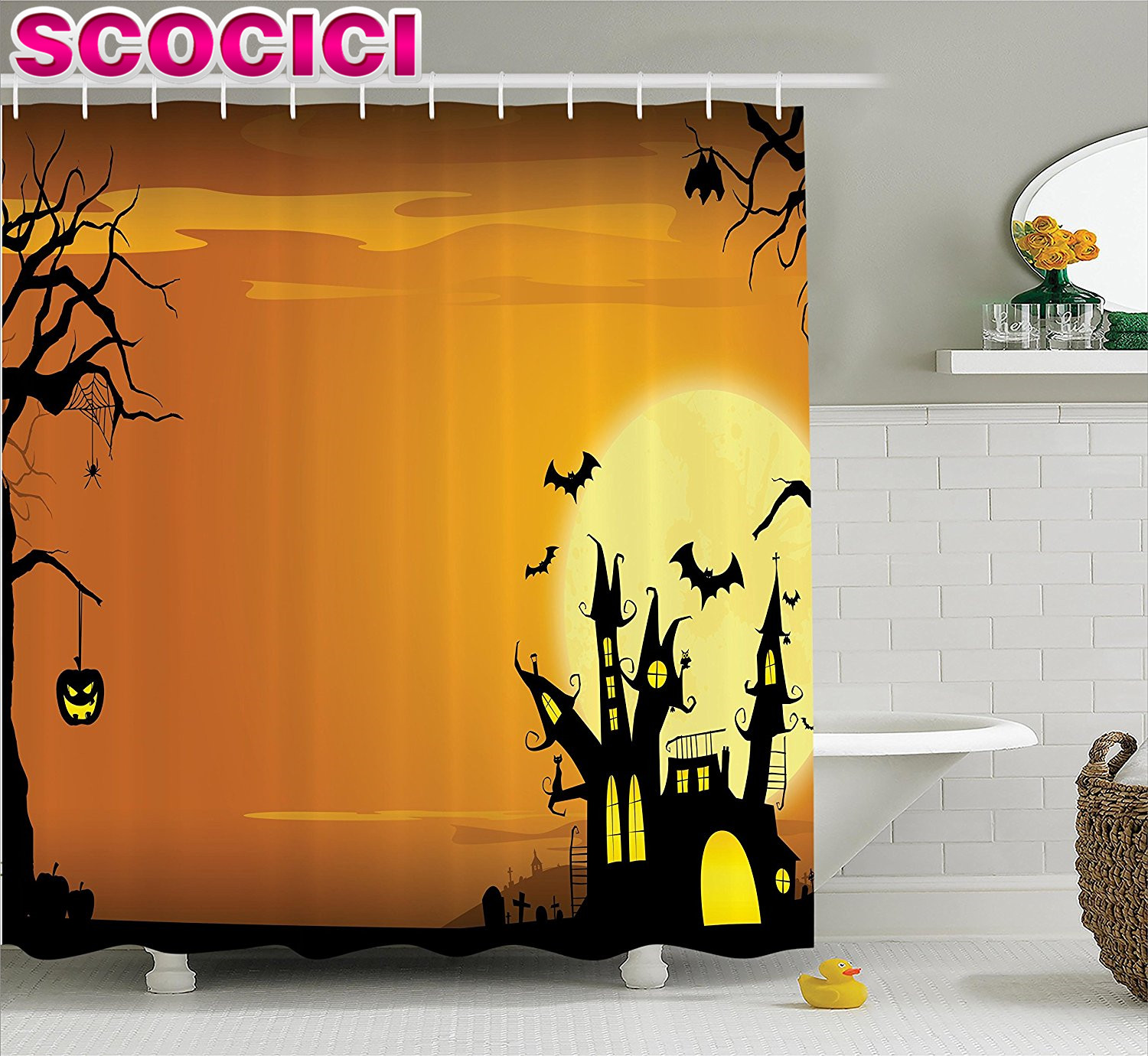 Halloween shower curtain - Halloween Decorations Shower Curtain Set Gothic Haunted House Theme Flying Bats Western Spooky Night Scene With