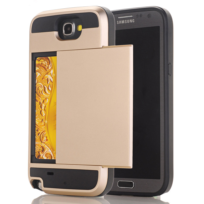 For Samsung Galaxy Grand 2 Duos G7102 G7106 G7100 Hybrid Case Slide Card Holder Dual Layer Hard Soft Armor Luxury Cover