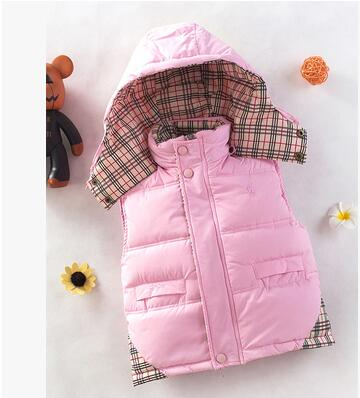 Free shipping autumn winter jacket baby clothing kids down parkas vest children hoodies warm down waistcoat