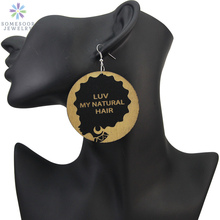 SOMESOOR Engraved AFRO Wooden Dangle Earrings LUV MY NATURAL HAIR African Blacks Cruly Ethnic Jewelry For Women Gifts 1 Pair