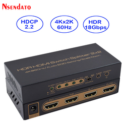 HDR HDMI 4K Splitter 2x2 4Kx2K 60Hz 2 In 2 Out HDMI Switch Converter with Audio EDID Scaler Down For Dolby Monitor PS4 XBOX
