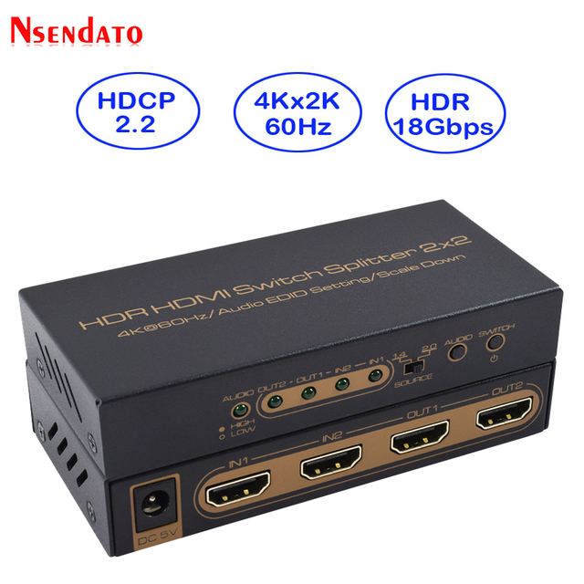 HDR HDMI 4K Splitter 2x2 4Kx2K 60Hz 2 In 2 Out HDMI Switch Converter with Audio EDID Scaler Down For Dobly Monitor PS4 XBOX