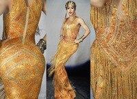 Gold Rhinestones Fringes Dress Nightclub Stage Wear Sleeveless Tassel Dresses Singer Evening Performance Tassel Long Dress