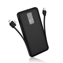 Cager 10000mAh Power Bank 3A with Cable External Battery for iphone Samsung USB Type C Input with Charging Cable Powerbank