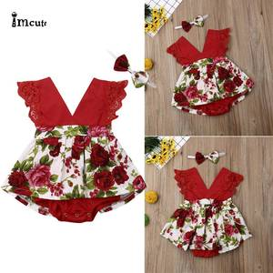 Infant Newborn Toddler Baby Girl Clothes Lace Floral Red Sleeveless V-neck Jumpsuit Bodysuit Dress Headband Outfits(China)