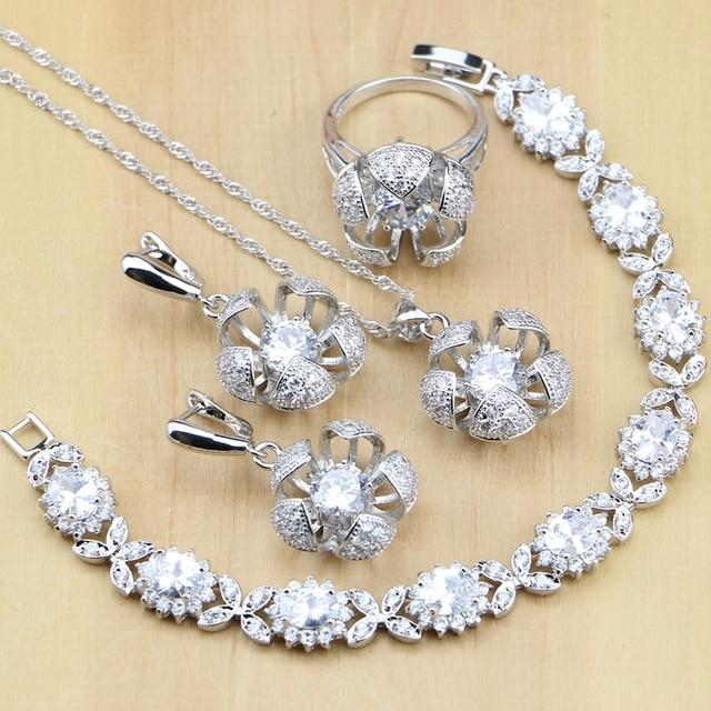Flower Shaped Silver 925 Jewelry White Cubic Zirconia Jewelry Sets For Women Par