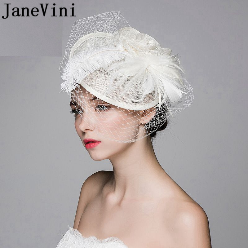 JaneVini Beige Wedding Accessories For Hair Wedding Hats Bride To Be Bridal Hat Feathers Birdcage Veil Hat Flower With Hairpin