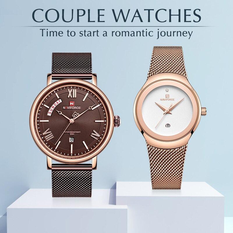 Часы NAVIFORCE для мужчин и женщин, кварцевые наручные часы с календарем