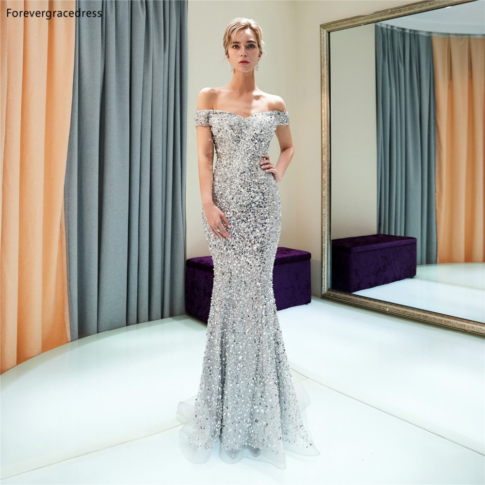 Forevergracedress Luxury Mermaid   Prom     Dresses   2019 Silver Beading Off Shoulder Formal Party Gowns Plus Size Custom Made