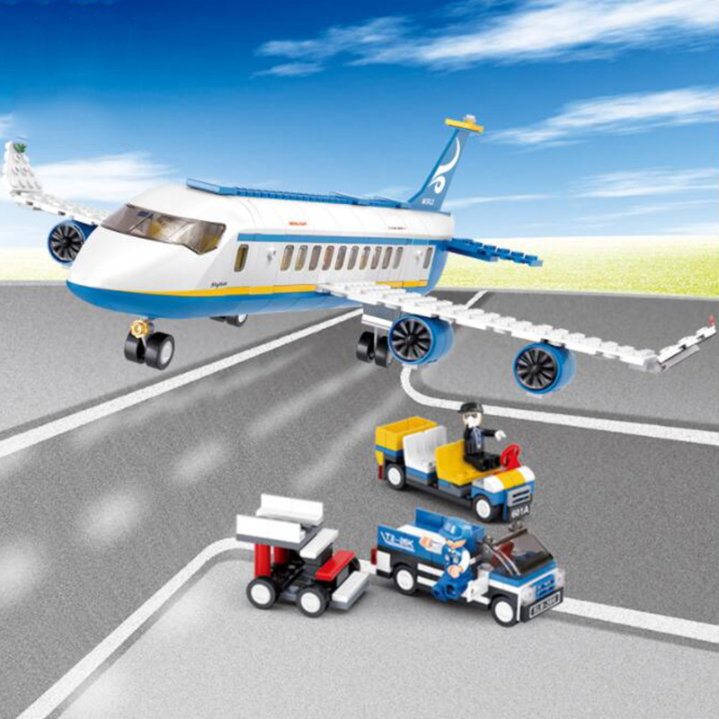 B0366B0365 ABS 4328cm Airplane Aircraft Building Blocks Airbus City Bus W 7 dolls Model Toys for Children Kids Training gift