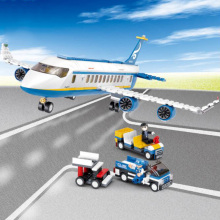 B0366/B0365 ABS 43/28cm Airplane Aircraft Building Blocks Airbus City Bus W 7 dolls Model Toys for Children Kids Training gift b0366 b0365 abs 43 28cm airplane aircraft building blocks airbus city bus w 7 dolls model toys for children kids training gift